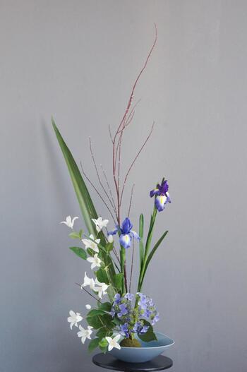 菖蒲×クレマチス  和風スタイル(造花)