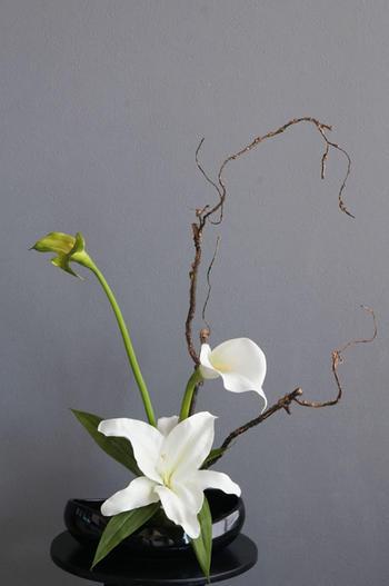 オードリーカサブランカ×ホワイトカラー 和風スタイル(造花)