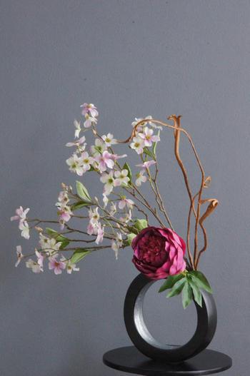 ワインレッド芍薬和風スタイル(造花)