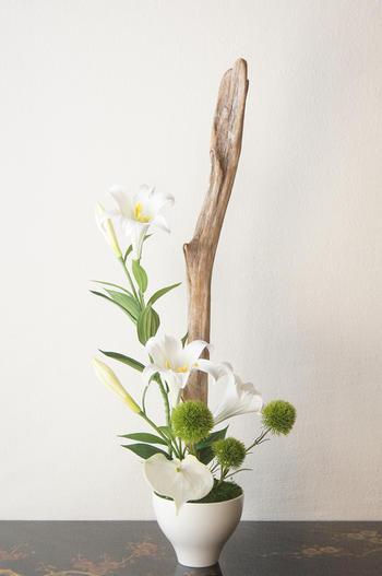 テッポユリ 流木和風アレンジメント(造花)