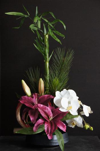 ソルボンヌカサブランカ×胡蝶蘭 和風スタイル(造花)