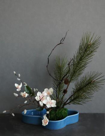 クリームピンクマグノリア×子宝松 和風スタイル(造花)