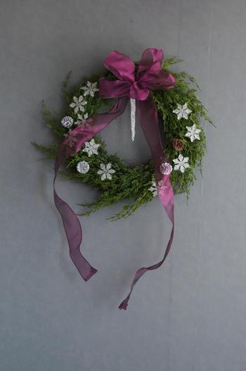 クリスタルスノーフレーク クリスマスリース(サイズ大)(造花)