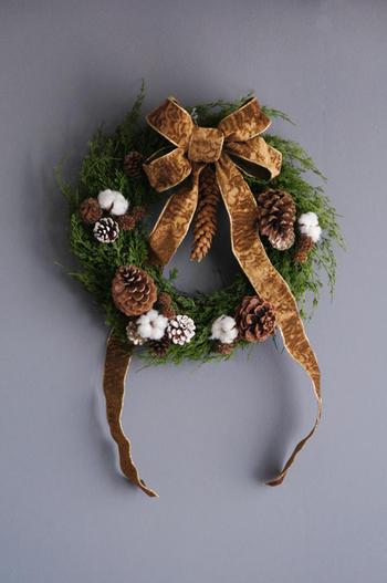 松かさ×コットン クリスマスリース(造花)
