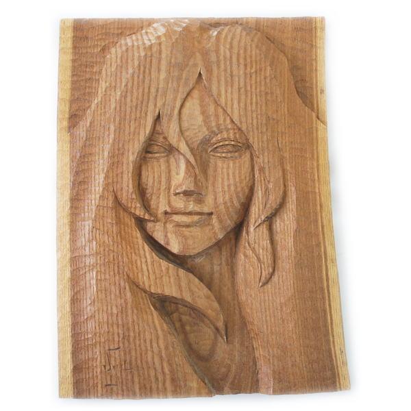 一品作 木製 木彫り レリーフ・置物 【117】【オブジェ】【インテリア】