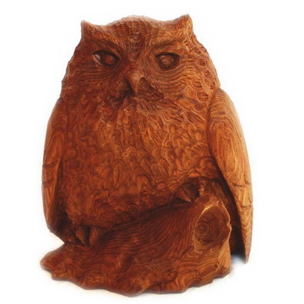 木彫りのふくろうの置物 【幸人作】【8号】【北海道】【えんじゅ】【木製】【オブジェ】