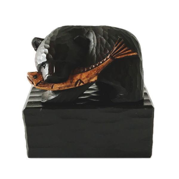 サービス 受注生産品 鮭をくわえた 熊の木彫りの置物 大