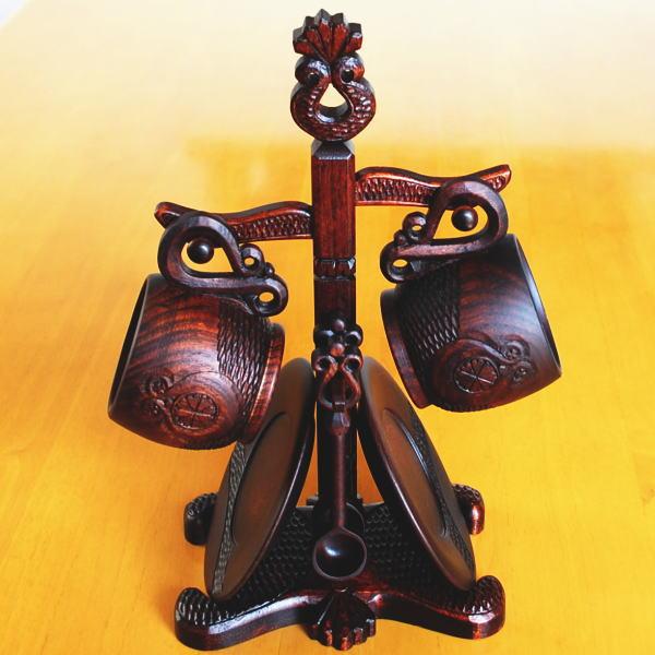 模様 コーヒーカップ スタンド セット(縦) 北海道 木彫り 民芸 ギフト プレゼント 木製食器
