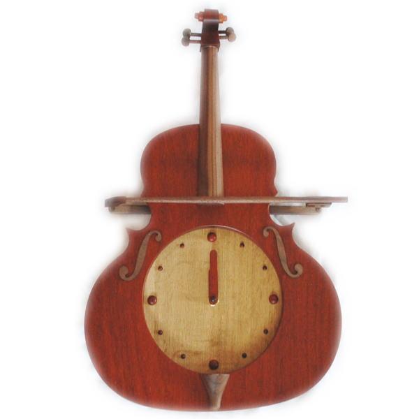 送料無料 木製 壁掛け振り子時計 バイオリン パドックB とけい