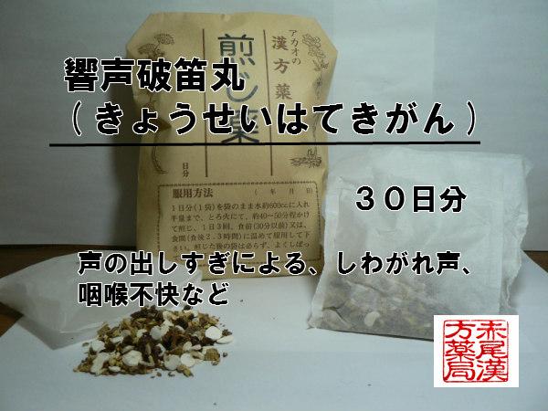 響声破笛丸キョウセイハテキガン 煎じ薬 30日分 声の出し過ぎによる声枯れ 薬局製剤