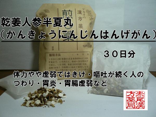 乾姜人参半夏丸かんきょうにんじんはんげがん 煎じ薬 30日分 つわり 胃炎 胃腸虚弱 薬局製剤