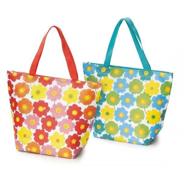 [4518972011871] 【7個入】 ポップな花柄 保冷温トートバッグ 2色組