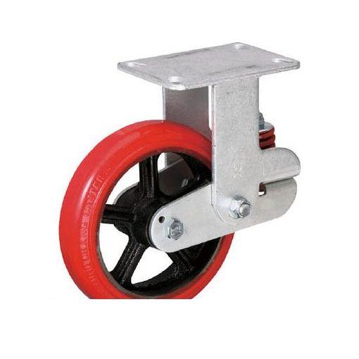 イノアック KTU150WKGS バネ付き牽引車輪 ウレタン車輪タイプ 固定金具付 Φ150 【送料無料】