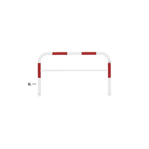 【個人宅配送不可】帝金 Teikin 82A3-15 R&W 直送 代引不可・他メーカー同梱不可 スチール製バリカー 横型・コノ字型・アーチ型・U字型車止めポール スタンダードタイプ 中桟付・中桟あり φ60.5xt2.8 W1500 H650 mm 赤白色 82A315R&W
