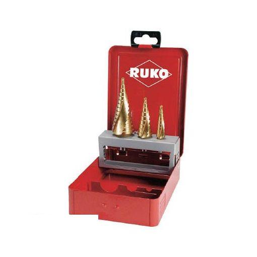 RUKO社 101026T RUKO 2枚刃スパイラルステップドリルセット 3本組 チタン【送料無料】