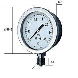長野計器 NKS GV51-133-1.5MP グリセン入圧力計 75mm立型 A枠・JIS準拠品 【0~1.5MPa】 圧力 ゲージ GV511331.5MP
