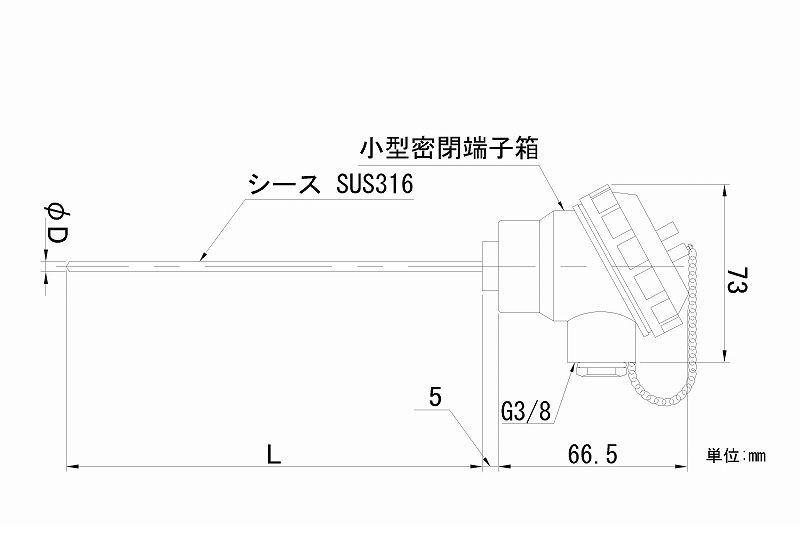 【個数:1個】日本電測 RN2-6.4-15 端子箱形シース白金測温抵抗体 RN26415 【送料無料】
