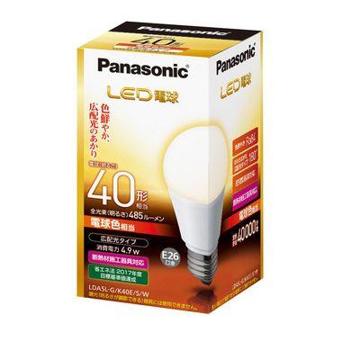 【送料無料】パナソニック LED電球 一般電球形 40W形相当 電球色 口金E26 広配光タイプ [10個セット] LDA5L-G/K40E/S/W-10SET