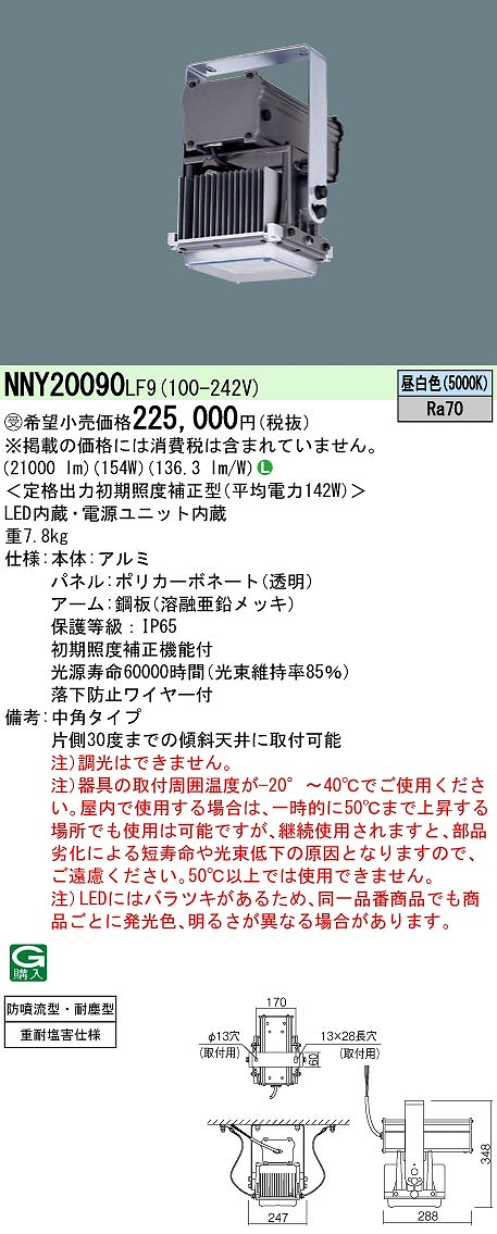 高天井用照明 PANASONIC NNY20090-LF9