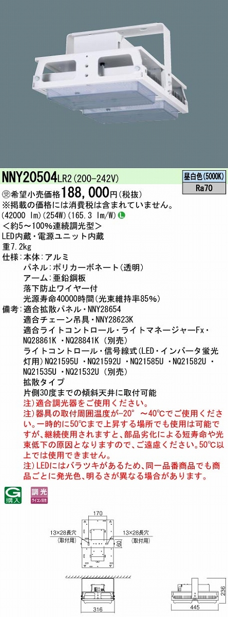 高天井用照明 PANASONIC NNY20504-LR2