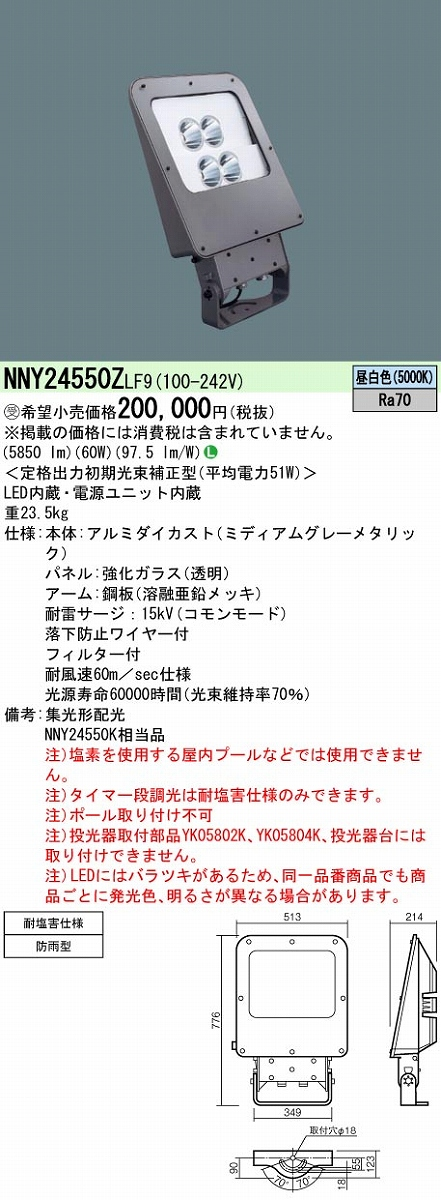 投光器 PANASONIC NNY24550Z-LF9