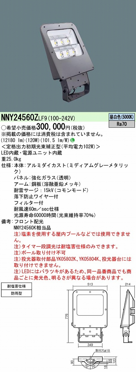 投光器 PANASONIC NNY24560Z-LF9