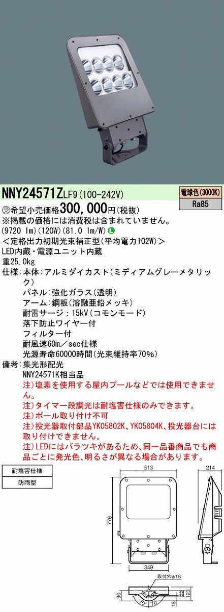 投光器 PANASONIC NNY24571Z-LF9