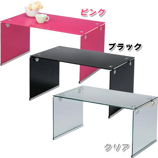 【TD】ガラステーブルS PT-28 ピンク・ブラック・クリア【取寄せ品】【お取寄せ品】