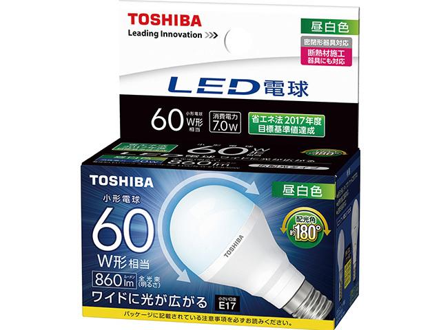 LED電球ミニクリプトン形 昼白色 60W形 東芝 LED電球ミニクリプトン形配光角約180度広配光タイプ60W形 E17 S 昼白色LDA7N-G-E17 60W 限定タイムセール 買取