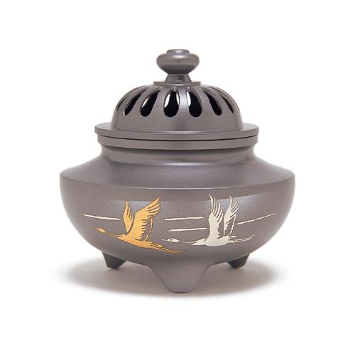 お香 線香 香炉 ◆高岡銅器 玉利久双鶴◆【香炉】日本香堂 Nippon Kodo 日本製【香り・室内香・部屋焚き・ルームインセンス】