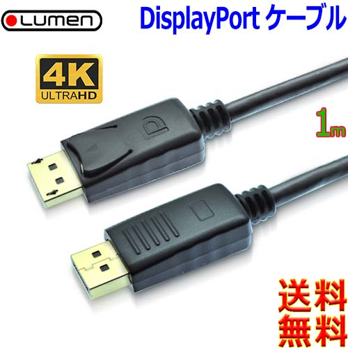 4K WEB限定 3840x2160 displayport端子搭載PC 信号劣化防止金メッキ端子 Lumen ルーメン 4K高解像度 ディスプレイポートケーブルVer1.2 1M Display ラッチ付 映像 液晶モニター接続用 ポスト投函 送料無料n 大好評です 音声対応 Port cable