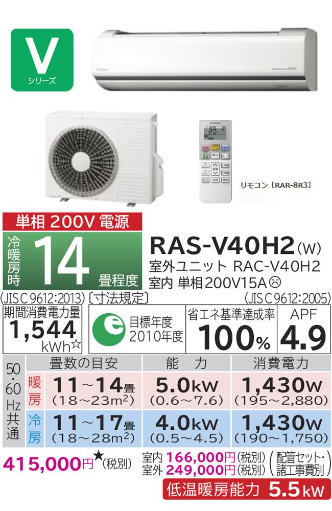 日立 ルームエアコン 白くまくん (14畳用) RAS-V40H2