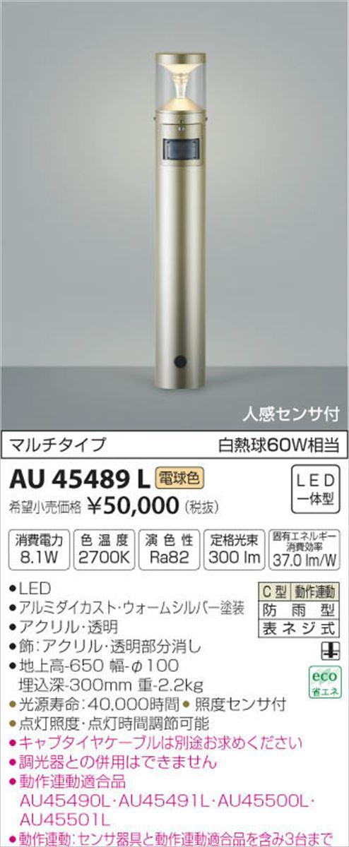 AU45489L ガーデンライト LED(電球色) コイズミ照明 (KA) 照明器具