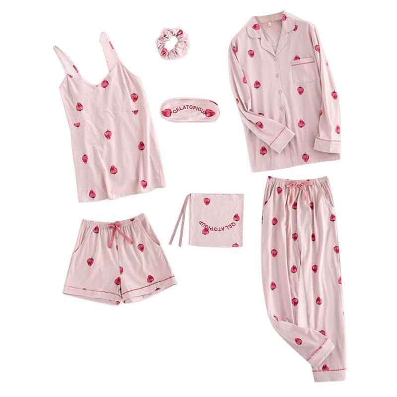 レディースパジャマ 夏冬兼備7点セット シャツ長袖 上下セット 前開き 可愛い ピンク イチゴ柄 ルームウェア 部屋着 ソフト