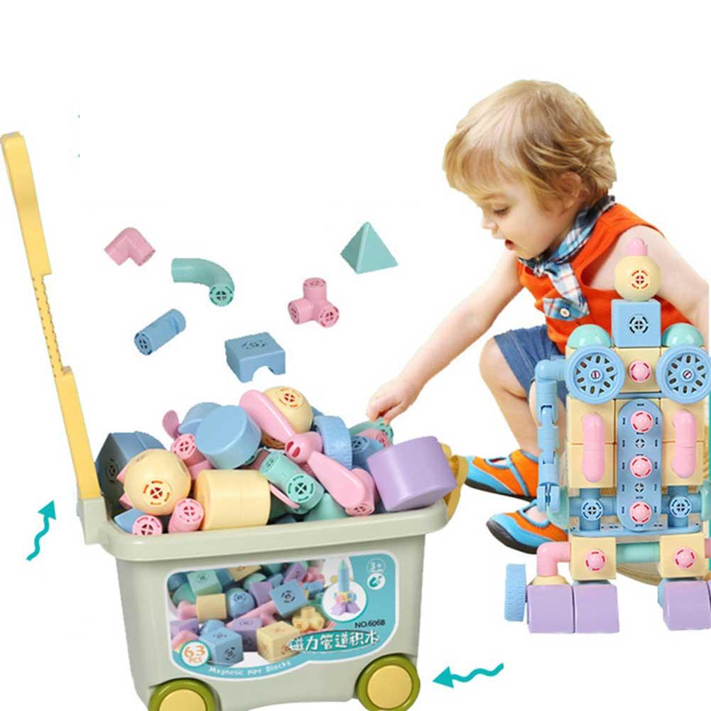 マグネットブロック 磁石ブロック パイプブロック 積み木 おもちゃ 立体パズル カラフル モデルDIY マカロン色 収納ケース付き 誕生日 入園祝いギフトクリスマス 贈り物 109ピース