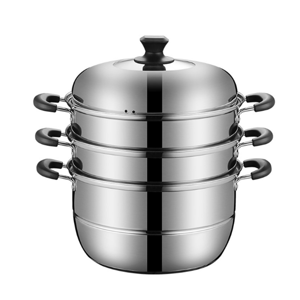 蒸しもの鍋 「3層底」満菜 三段 蒸し器 対応熱源:IH対応 各種熱源対応 7サイズ 鍋蓋付 ステンレス 32cm
