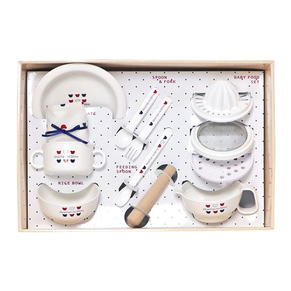 【公式ショップ 赤ちゃんの城】ネット限定 もぐもぐセット トリコロール [箱入り] 送料無料 日本製 プレゼント付 離乳食 食器セット 調理セット 離乳食