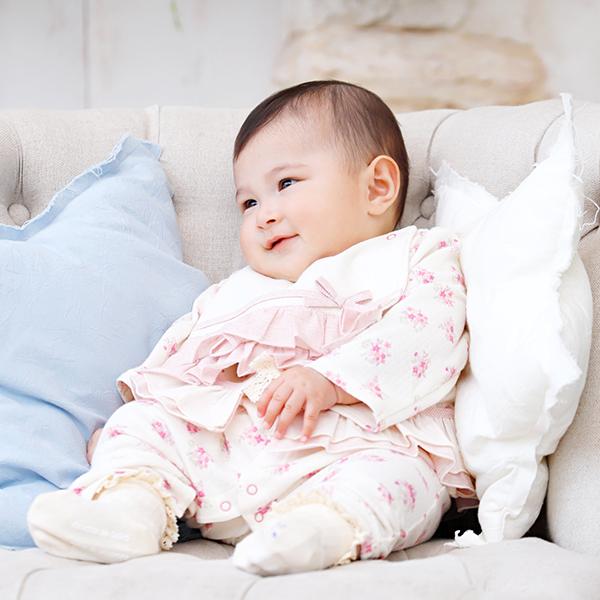 【公式ショップ 赤ちゃんの城】カバーオール ロンパース 女の子 日本製 春 秋 冬 オーガニック ベルナチュール ブーケ