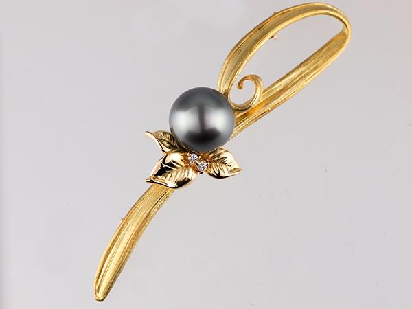 【TASAKI 田崎】タサキ 黒蝶パールダイヤブローチ K18YG 金18ゴールド 真珠幅約11.5mm パール アクセサリー ゴールド ダイヤ【中古】【新品仕上げ】
