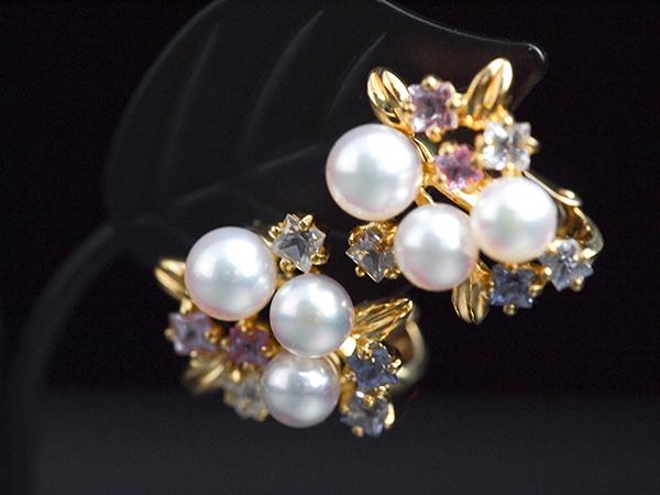【ジュネ】真珠サファイアイヤリング750YG 金18イエローゴールド ダイヤモンドS1.20ctピンク ホワイト アクセサリー【中古】【新品仕上げ】【美品】