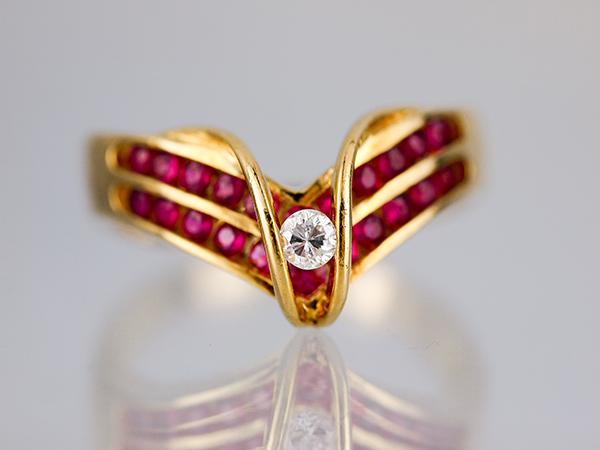 【天然ルビー】天然ルビーダイヤリング 指輪K18YG 金18イエローゴールド 天然ルビー 天然ダイヤモンド0.09ct 約15号【中古】【美品】【新品仕上げ】