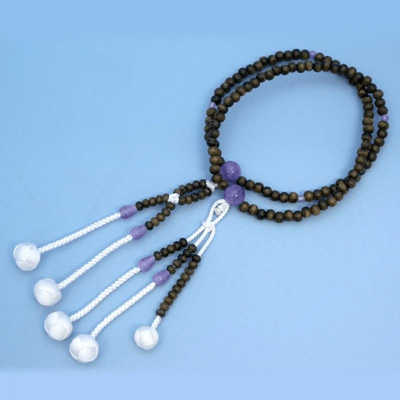 創価学会 念珠 シャム柿(藤雲石仕立)【小サイズ】 数珠 小さなサイズ お念珠製作は国産