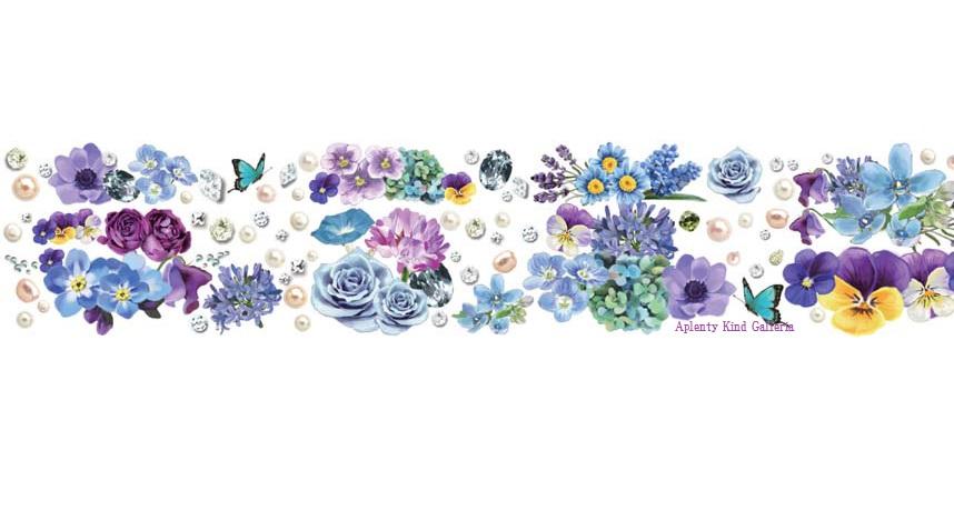 Blue & Violet/청색과 자주색 YD-MK-058 Flower series Line yano design masking tape 플라워 시리즈 라인/라운드 상판 희 デザインマステ에서 폭 30mm 꽃무늬 절취선 들어가고 マステ ROUND TOP 녹색 색조를