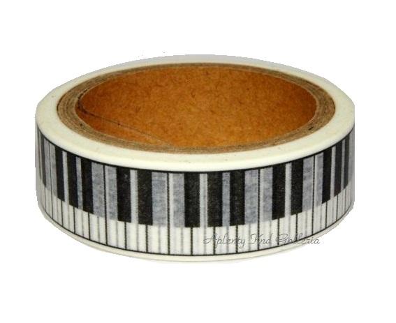 도쿄 골동품 마스킹 테이프 피아노 건반 MA − 15P를 너비 15mm 도쿄 골동품 マステ/인테리어 장식 피아노 모양 흑백 건반 디자인 けんばん 음악 류 피아 종합 피아노 디자인 클래식 디자인