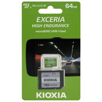 キオクシアKioxia EXCERIA HIGH ENDURANCE 高耐久microSDXC 25%OFF 64GB SD変換アダプター付 海外パッケージ Class10 ネコポス便配送制限8枚まで LMHE1G064GG2 UHS-I 新着