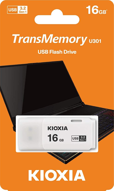 2020モデル KIOXIA キオクシア TransMemory U301 キャップ式 USB3.2 安心と信頼 Gen1対応 フラッシュメモリー16GB 海外パッケージ LU301W016GG4 ネコポス便配送制限12枚まで