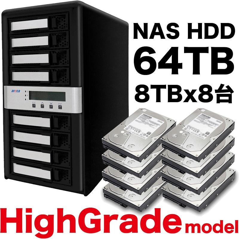 《お取り寄せ》秋葉館オリジナル Thunderbolt3 8ベイRAID5 64TB[ARC-8050T3U-8-64T-NAS]