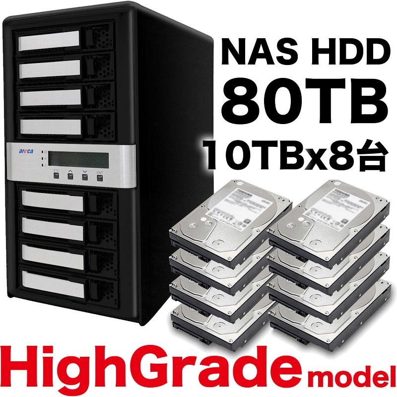《お取り寄せ》秋葉館オリジナル Thunderbolt3 8ベイRAID5 80TB[ARC-8050T3U-8-80T-NAS]