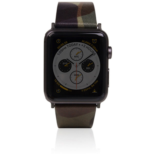 【送料無料】ROA Apple Watch バンド 42mm/44mm用 Italian Camo Leather カーキ SD16046AW