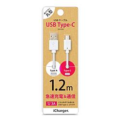 PGA USB Type-C 選択 Type-A コネクタ (人気激安) USBケーブル PG-CUC12M12 ホワイト 1.2m iCharger PGCUC12M12